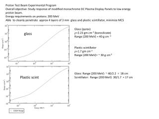 Proton Test Beam Experimental Program