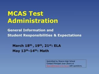 MCAS Test Administration