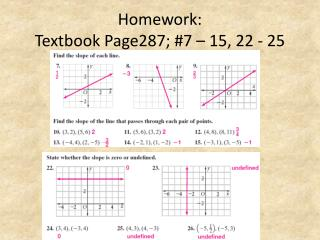 Homework: Textbook Page287; #7 – 15, 22 - 25