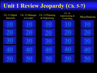 Unit 1  Review Jeopardy ( Ch. 5-7 )