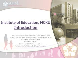 Institute of Education, NCKU Introduction