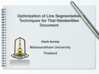 Optimization of Line Segmentation Techniques for Thai Handwritten Document