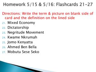 Homework 5/15 & 5/16: Flashcards 21-27