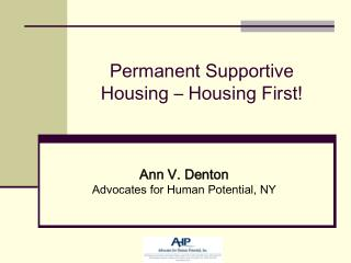 Permanent Supportive Housing   Housing First
