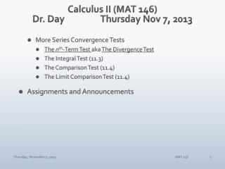 Calculus II (MAT 146) Dr. DayThursday Nov 7, 2013