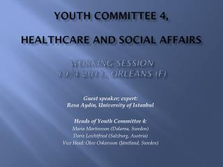 Youth Committee  4, Healthcare and Social  Affairs Working  session  19/4 2011, Orléans (F)