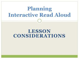 Planning   Interactive Read Aloud