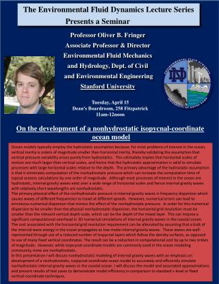 The Environmental Fluid Dynamics Lecture Series Presents a Seminar