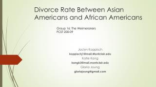 Divorce Rate Between Asian Americans and African Americans