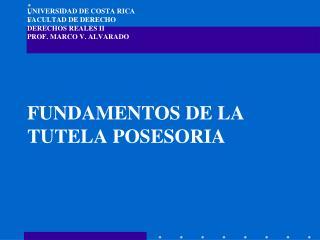 UNIVERSIDAD DE COSTA RICA FACULTAD DE DERECHO DERECHOS REALES II PROF. MARCO V. ALVARADO        FUNDAMENTOS DE LA TUTELA