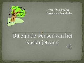 Dit zijn de wensen van het  Kastanjeteam :