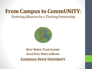 From Campus to  CommUNITY :  Fostering Alliances for a Thriving Partnership