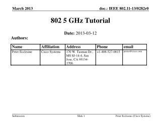 802 5 GHz Tutorial