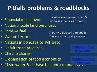 Pitfalls problems & roadblocks