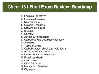Chem  131 Final Exam Review: Roadmap
