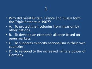 Why did Great Britain, France and Russia form the Triple Entente in 1907?