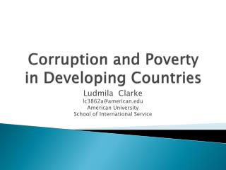 Corruption and Poverty in Developing Countries