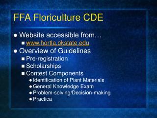 FFA Floriculture CDE
