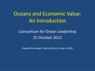 Oceans and Economic Value: An Introduction