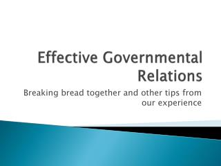 Effective Governmental Relations