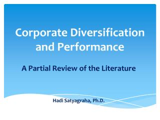 Corporate Diversification and Performance