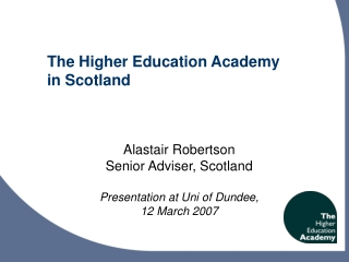 E-Learning Research and the Higher Education Academy
