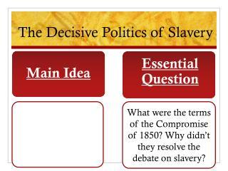 The Decisive Politics of Slavery