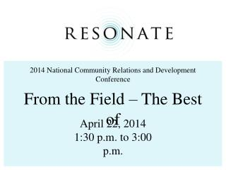2014 National Community Relations and Development Conference