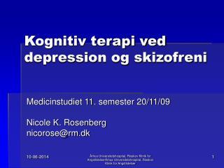 Kognitiv terapi ved depression og skizofreni