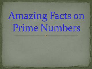 Amazing Facts on Prime Numbers