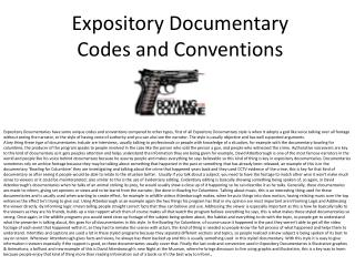Expository Documentary Codes and Conventions