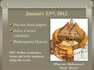 January 23 rd , 2012