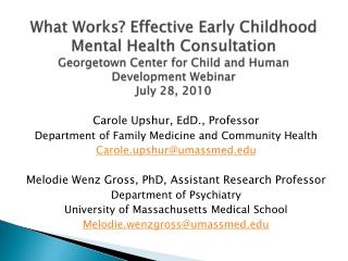 What Works Effective Early Childhood Mental Health Consultation Georgetown Center for Child and Human Development Webina