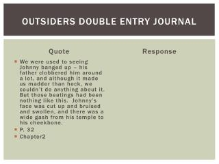 Outsiders Double Entry Journal