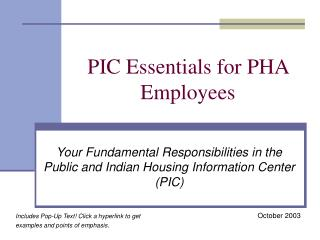 PIC Essentials for PHA Employees