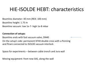 HIE-ISOLDE HEBT: characteristics