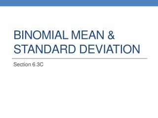 Binomial Mean & Standard Deviation