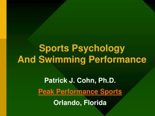 Sports Psychology And Swimming Performance