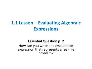 1.1 Lesson – Evaluating Algebraic Expressions