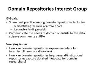 Domain Repositories Interest Group