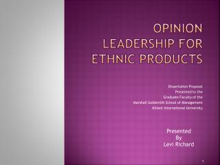 opinion leadership For ETHNIC PRODUCTS