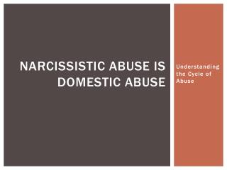 Narcissistic Abuse is Domestic Abuse