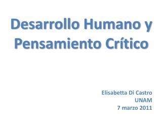 Desarrollo Humano y Pensamiento Cr tico