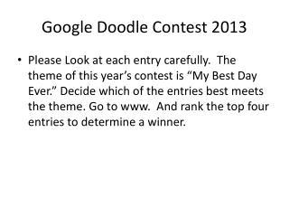 Google Doodle Contest 2013