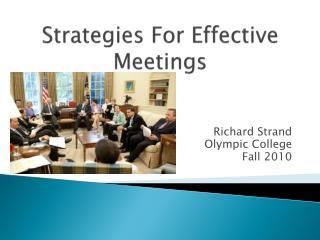 Strategies For Effective Meetings