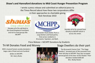 Press Release = MCHPP  Donations by Students