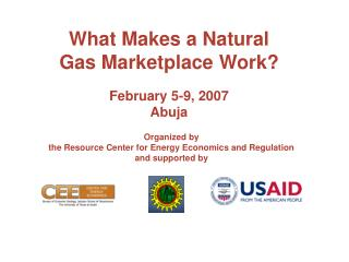 What Makes a Natural Gas Marketplace Work  February 5-9, 2007 Abuja