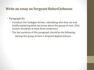 Write an essay on Sergeant Buford Johnson