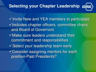Selecting your Chapter Leadership