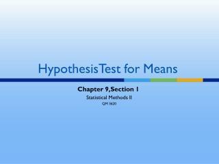 HypothesisTest for Means